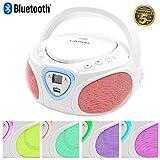 Lauson Radio CD avec Lecteur MP3 Bluetooth | USB Port | Lecteur CD Portable pour Enfants | Effet Disco Lumière LED pour Plus d'amusement et de Divertissement de Tous | AM/FM | CP451 (Blanc).