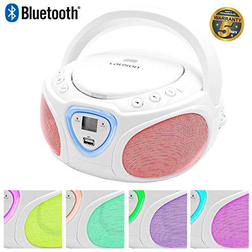 Lauson CP451 Radio Reproductor de CD con Luces Led Multicolores en los Altavoces. Lector USB para Reproducir Música MP3, Boombox Radio Digital FM y Conexión Bluetooth (Blanco)