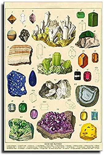 Póster de piedras preciosas de cristal multicolor vintage mineral, póster artístico para...