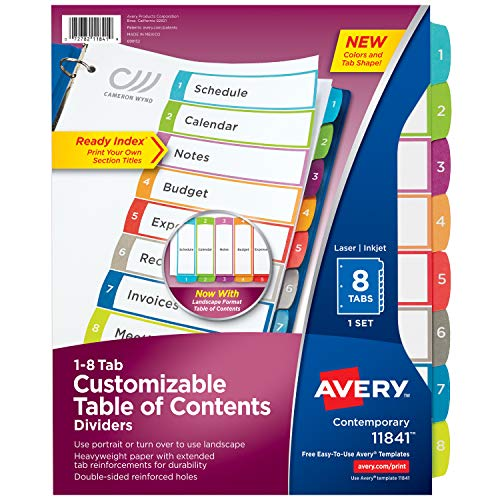 Avery 8-Tab Dividers for a 3 Ring Binders, Customizable Table of Contents,...