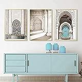 NFXOC Pintura en Lienzo Marruecos Puerta árabe Arquitectura Turismo Decoración Musulmana Cartel Retro nórdico Impresión Imagen de Arte de Pared islámica (80x100cm) 3 Piezas Sin Marco