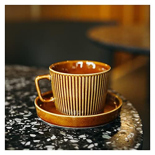 Chenhan Tazas de café turcas Retro y platillos Porcelana 8.5 oz.Copa de Espresso Conjunto Taza De Café Mujeres, Hombres, Adultos, Doblewarming, Cumpleaños, Boda (Color : Brown)