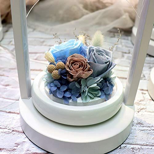 DKFS eeuwige bloem 520 cadeau Valentijnsdag roterende kleine liefde glazen tafellamp grijs/blauw