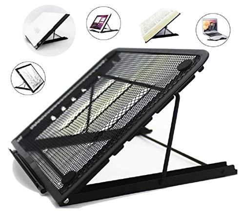 Metal Mesh Ventilated Adjustable Laptop Stands Computer Notebook Holder Stand Riser Compatible with Apple MacBook Air Pro Dell XPS HP Samsung Lenovo More Laptops up to 19'- Black
