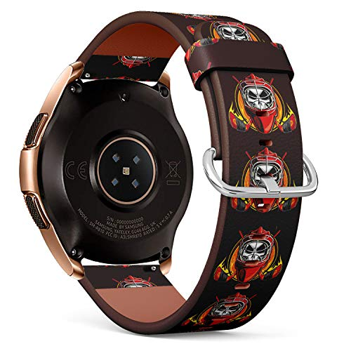 R-Rong kompatibel Watch Armband, Echtes Leder Uhrenarmband f¨¹r Samsung Galaxy Watch 42MM - Ice Hockey Skull On Fire