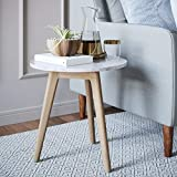 Nathan James Amalia Mid-Century Nightstand, Solid Wood Legs Accent End or Side White Faux Carrara Marble Table Top, Light Brown