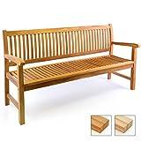 Divero 3-Sitzer Bank Holzbank Gartenbank Sitzbank 180 cm – zertifiziertes Teak-Holz behandelt hochwertig massiv – Reine Handarbeit –...