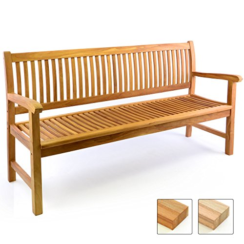Divero 3-Sitzer Bank Holzbank Gartenbank Sitzbank 180 cm – zertifiziertes Teak-Holz behandelt hochwertig massiv – Reine Handarbeit – wetterfest (Teak behandelt)