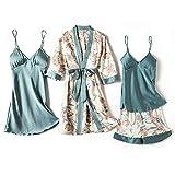 FYMIJJ Conjunto de Pijama,Pajamas for Women 4 Piece Set Sexy Ladies Pyjama Sleepwear Women Pajama Sets Sleep Lounge with Chest Pads Home Wear,A,1 4PCS,M