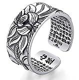 STYLE4-NATURE Anillo de plata maciza 999 con diseño de loto budista de buena suerte y autoconciencia