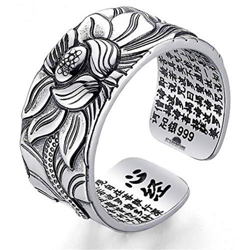 STYLE4-NATURE® Ring mit Lotus-Motiv 999er massives Silber Buddhistischer Mantraring Glück & Selbstbewußtsein
