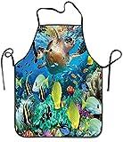 AEMAPE Delantal de Tortuga Marina del océano Hombres Mujeres Unisex Durable Cómodo Lavable para cocinar Hornear Cocina Restaurante Elaboración Fácil Cuidado
