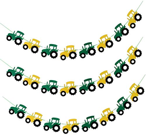 AKAMAS 3x Cool Tractor Car Design Garland Banner Felt Bunting Banner Garland Sign Baby Shower Boy Birthday Party Indoor Outdoor Decor Hanging Decorations