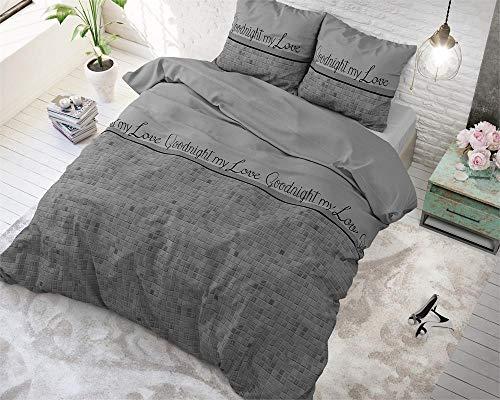 SleepTime Bettwäsche Baumwolle Gute Nacht Mein Liebling, 200cm x 220cm, Mit 2 Kissenbezüge 60cm x 70cm, Grau