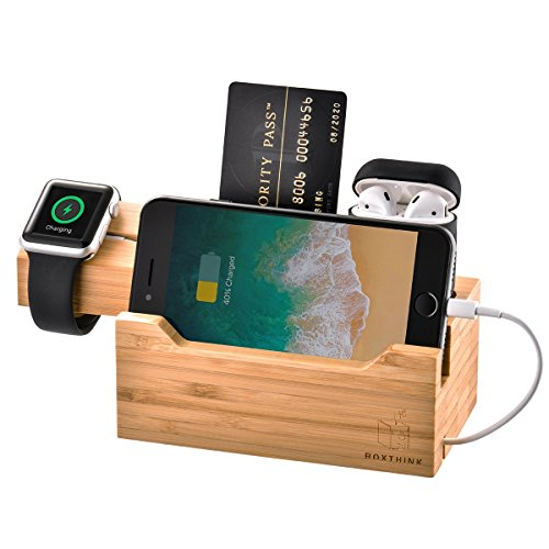 ZeroElec Charging Dock Air Pods Apple Watch Charger Stand Bamboo Wood Charging Station Desk Organization Compatible with AirPods/Apple Watch Series3/2/1/iPhone