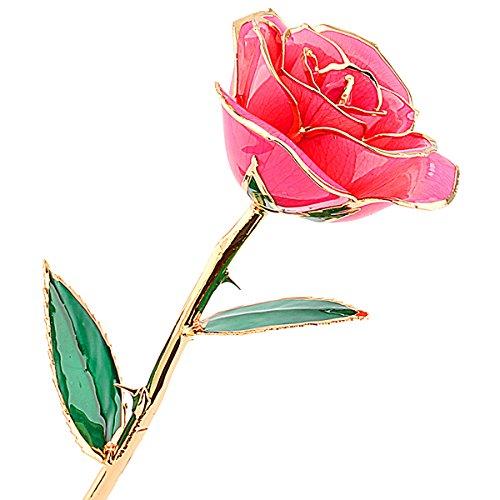 Rosa Real Bañada en Oro 24k, Hecho a Mano con Láminas de Oro y Rosa Real, Regalo Ideal Para el Día ee San Valentín Día de la Madre Navidad Cumpleaños y Boda, Amor Eterno con Caja de Regalo (rosa)