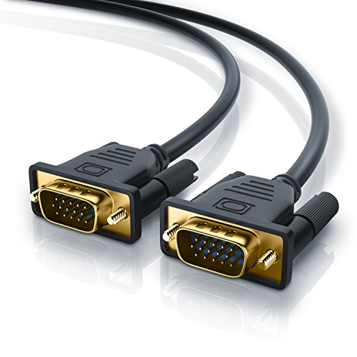 CSL-Computer Cavo VGA da 5 Metri - Alta qualitá - risoluzioni HDTV Fino a 2K 2560x1600 - Contatti Dorati - Protezione antipega su Cavo - Cavo Monitor a 15 Pin - Nero