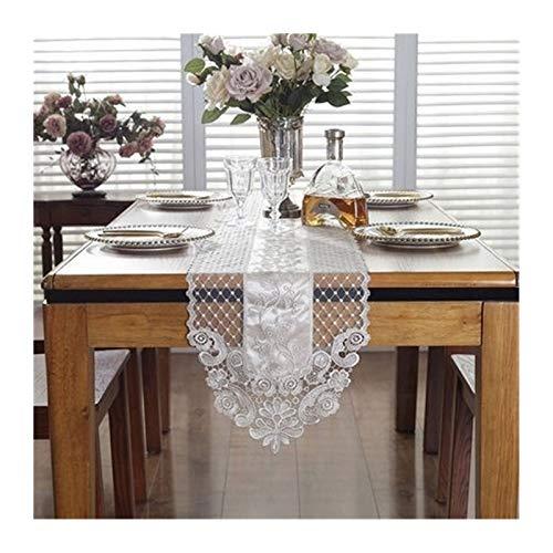 MJS Platzdeckchen Art-Stickerei vorzügliche Spitze Weiß Einfacher Couchtisch Tischmatte (Farbe : Weiß, Größe : 30 * 70cm)