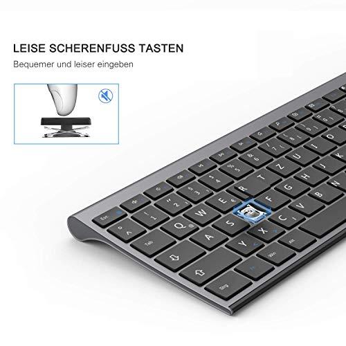 Jelly Comb 2.4G Funk Tastatur und Maus Set, Ultraslim Wiederaufladbare Tastatur mit Wireless Maus, Fullsize Design, QWERTZ Deutsches Layout für PC/Laptop/Computer/Smart TV, Grau