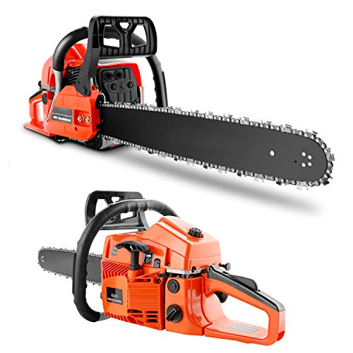 20 Inch Gas Powered Chainsaw, 62CC Woodcutting Chain Saw with Tool Kit for Cutting Trees, Wood(Orange)