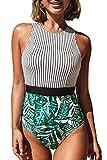 CUPSHE Women's Black Striped Leafy One Piece Swimsuit Medium