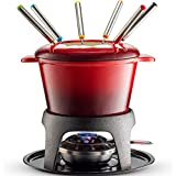 Klee 12-Piece Cast Iron Fondue Set with Red Fondue Pot, 6 Fondue Forks, Fondue Burner and Fondue Pot...