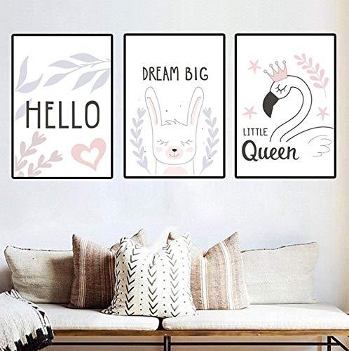 HHBACE affiche cartoon letters wit konijntje kinderkamer ophangen schilderij kleuterschool muur canvas schilderij wooncultuur animal print 24x32inch(60x80cm) x3 D