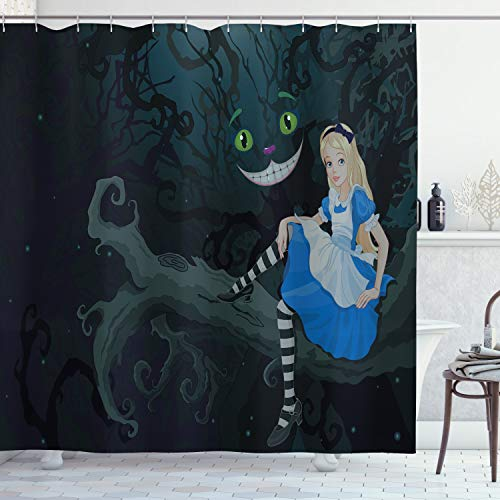 Ambesonne Alice in Wonderland Shower Curtain, Alice Sitting on Branch and Chescire Cat in Darkness Cartoon Style, Cloth Fabric Bathroom Decor Set with Hooks, 75' Long, Dark Green