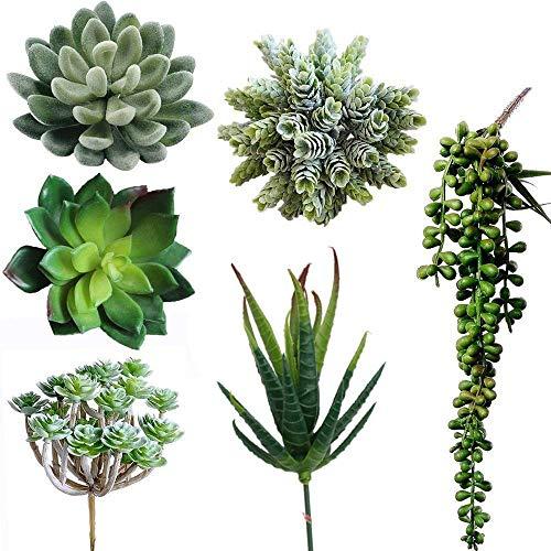 Nrpfell 6 Stücke Künstliche Sukkulenten Lotus Landschaft Dekorative Blume Grüne Gef?lschte Sukkulenten Pflanze Topf Blumen Garten Hochzeit Arrangement Dekor