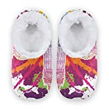 linomo Zapatillas retro británicas con símbolo de Londres Big Ben para mujer, pantuflas de casa para mujer, zapatos de casa, zapatos de dormitorio, calcetines, color Multicolor, talla 38/39 EU