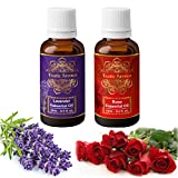 Exotic Aromas Lavender & Rose Essential Oil, Pure and Organic, 15 ml (Pack of 2)
