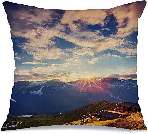 Funda de cojín Alp Great Senderismo Vista Colinas Brillantes por la luz del sol Naturaleza Parques de aventura Increíble Austria Hermoso Funda de Cojine 45 X 45CM