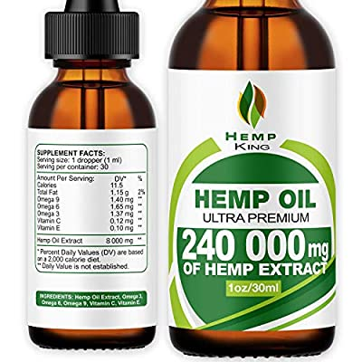 Hemp Oil Drops 240 000 mg, 100% Natural Extract, Anti-Anxiety and Anti-Stress, Natural Dietary Supplement, Rich in Omega 3&6 Fatty Acids for Skin & Heart Health, Vegan Friendly by Hemp King