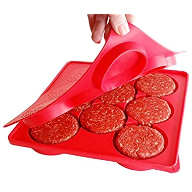 SiliCo Burger Press|8 In 1 Circular Compartments for Patties, Cookies, Hash Browns, Cutlets & More|Red