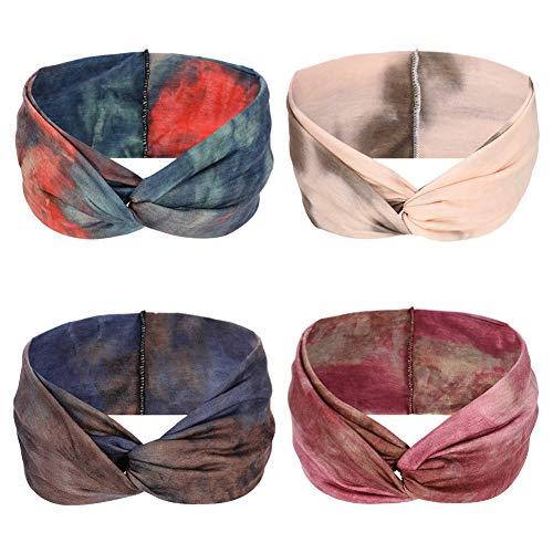 miuse Stirnband Damen elastische Haarband Kopfband Weich Turban Stirnband für Alltag Yoga Sport Fitness - 4er Pack, Mehrfarbig, Einheitsgröße