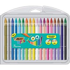 BIC Crayones para niños, colores surtidos, estuche duradero, 36 unidades (BKPCP36-AST)