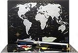 Scratchable mappa del mondo – Qualità premium Silver Deluxe Edition – personalizzato Travel Tracker poster – share e ricorda il tuo viaggio Adventures – mappa del mondo Silver (Silver)