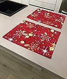 1KDreams Juego de 2 manteles individuales navideños, fondo rojo, bolas de estrellas y hojas doradas, diseño clásico en clave moderna (juego 2 50 x 40 cm)