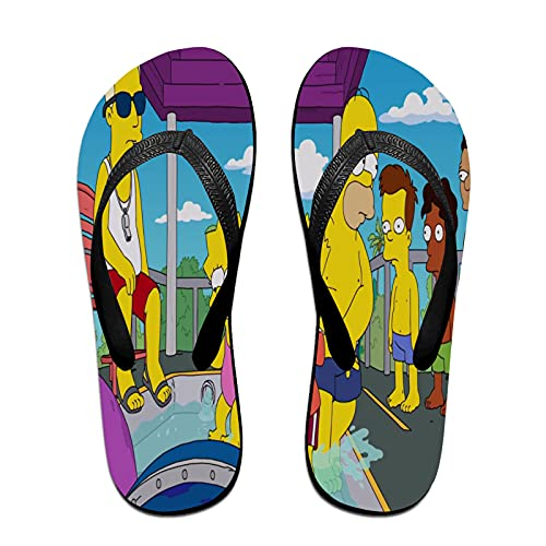 Xiaoxian The Sim-psons 28 zapatillas de arte coloridas para interiores y playa, sandalias de ducha y zapatillas, color Amarillo, talla Medium X-ancho