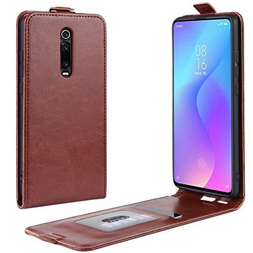Liluyao Funda telefónica para Xiaomi Estuche Protector de Cuero con tirón Vertical Crazy Horse for Xiaomi Redmi K20 / K20 Pro/Mi 9T / Mi 9T Pro (Color : Brown)