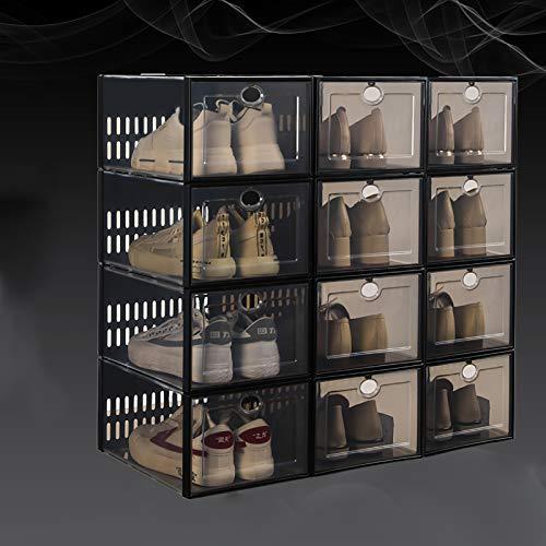 Caja De Almacenamiento De Zapatos Apilable,Ahorro De Espacio Organizador Plegable De Zapatos De Plástico Transparente,Portátil Armario De Zapatero Con Tapas Para La Sala De Estar(P-C 33.7x23.3x15.3cm