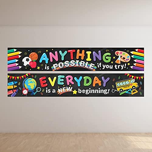 2 pancartas motivacionales para decoración de aula, tablón de anuncios...
