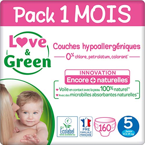 Love & Green Couches Taille 5 (11-25 Kg) - Pack 1 Mois (160 Couches)