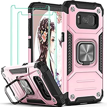 Galaxy S8 Case,Samsung S8 Case,with 3D Curved Screen Protector[2 Pack],YmhxcY Armor Grade with Rotating Holder Kickstand Non-Slip Hybrid Phone Case for Samsung Galaxy S8-Rose Gold