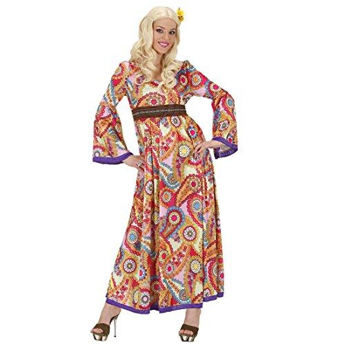 NET TOYS Déguisement Hippie année 70 Robe à Fleurs M 40/42 Robe années 70 Flower Power Robe Baba Cool Fleurie déguisement Beatnik Tunique bariolée Femme Costume de Carnaval Dame Flower Power