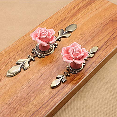 TüRklinke Rosen-Blumen-Rosa-weiße Keramik-Legierung Basis Türgriffe Küchenschrank Wandschrank Schubladenschrank Griffe Einzel-Loch Griff Knob Turschnalle Aussentur (Color : Pink Large)