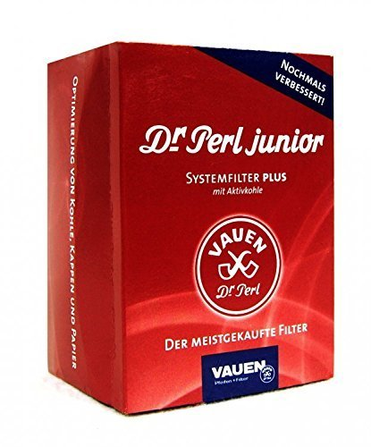 Vauen Dr. Perl Junior Carboni Attivi Grande, 9 mm, Ju-Max 3 x 180 = 540 filtri, Colore: Rosso, 3X...