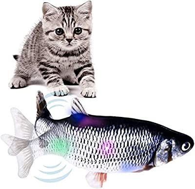 FOCIEL Cat Fish Toy, Interactive Catnip Toys for Cats, Electric Realistic Flip Fish Cat Toy with Lights Perfect for Chewing Biting Kicking (Fish cat toy)