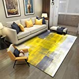 Modern Grey Yellow Abstarct Area Rug for Living Room Coffee Table Carpets Arto Collection Contemporary Colorful Rugs Beside The Bed Abstract Liquid Style Painting Rugs Floor Mats A 5X7ft