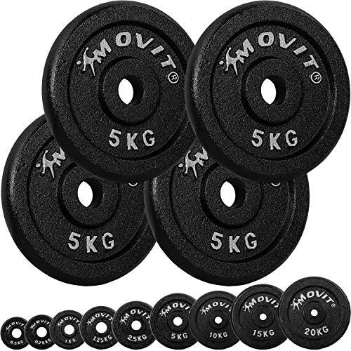 Movit® Hantelscheiben Set PRO, 100% Gusseisen, 30/31 mm Bohrung, Gewichtsscheiben Set Gewichte Hantel 4X 5,0kg